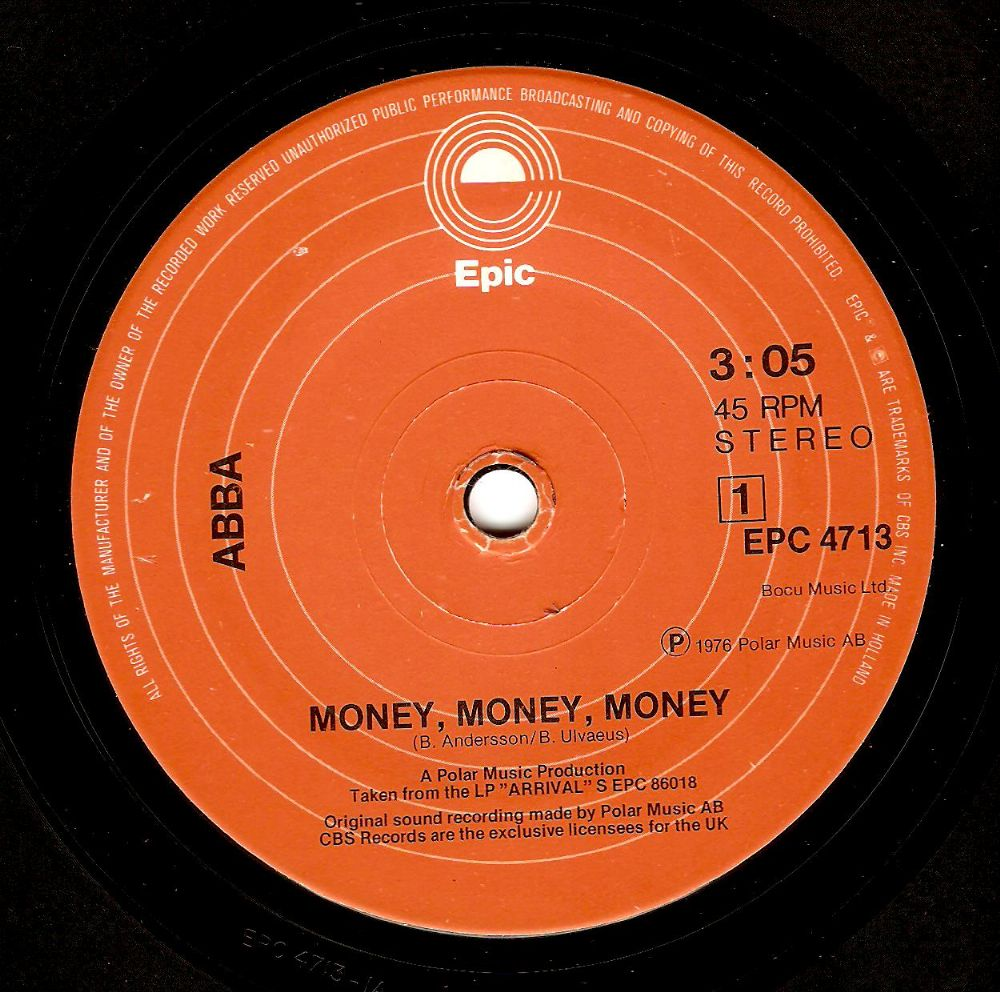ABBA Money, Money, Money Vinyl Record 7 Inch Dutch Epic 1976
